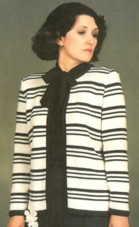 Perle Striped Suit with Yoke Skirt - Dynamic Pattern