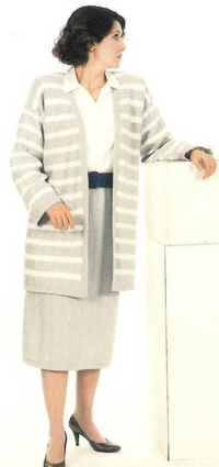 Grey and White Stripe Suit with Straight Skirt