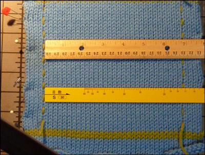machine knitting gauge swatch