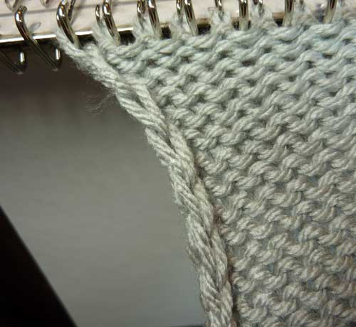 edges on the knitting machine