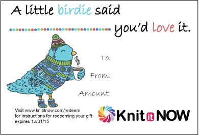 Gift Certificate by Knit it Now