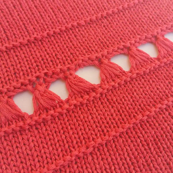 Lace Hand Manipulated Stitch Pattern For Machine Knitting